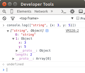 Example of console.log in the chrome console