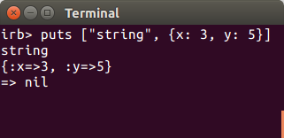 Example of puts in ruby on the terminal